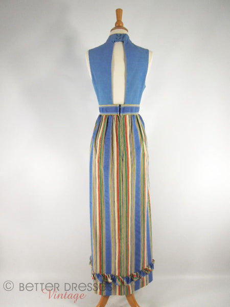60s/70s Open Back Maxi Dress & Wrap - sm, med