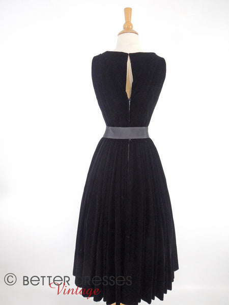 50s Black Velvet Dress - back