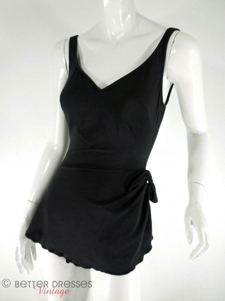 Perfection Fit by Roxanne Black Low Back Swimsuit at Better Dresses Vintage. Front angle view.