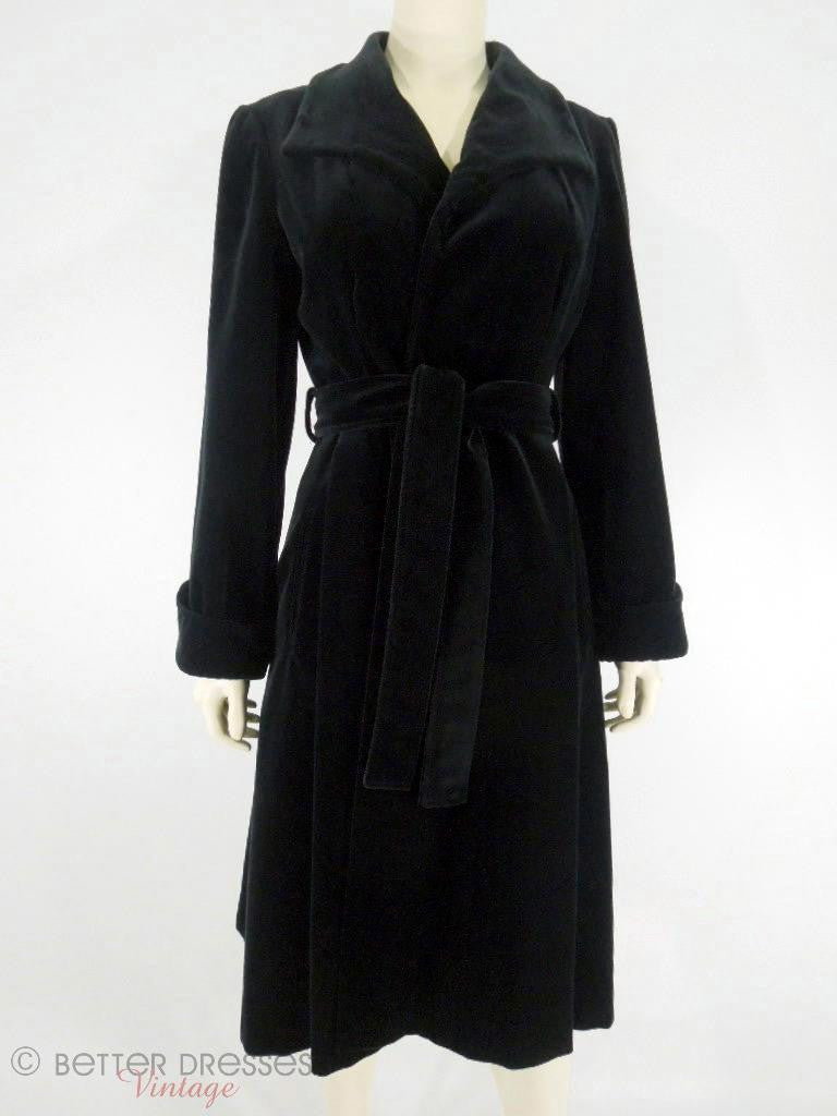 70s Black Velvet All-Weather Coat - sm