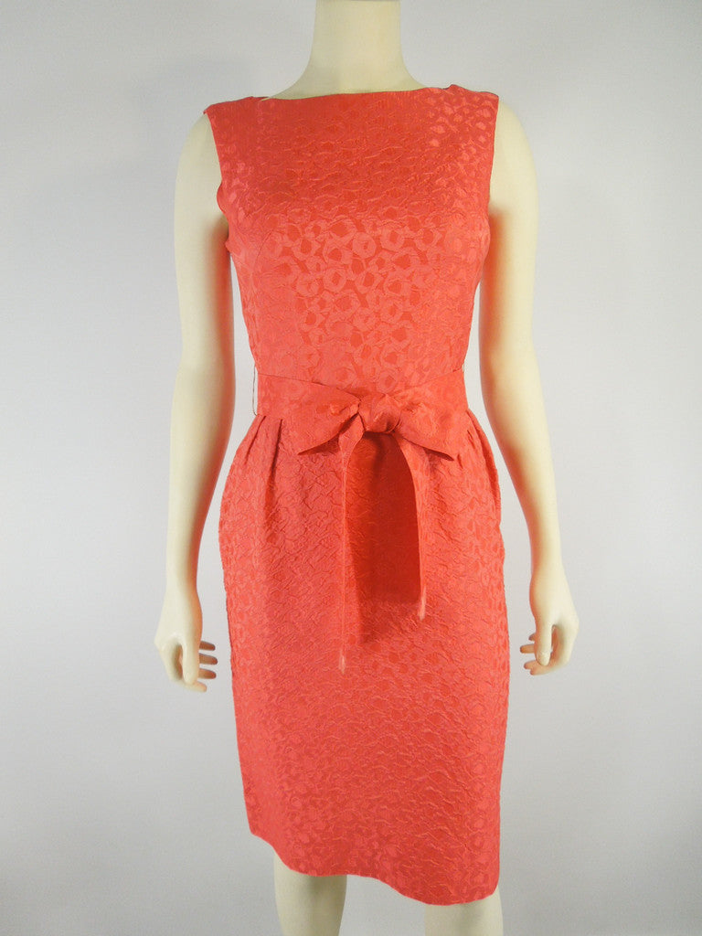 Vintage 50s 60s orange plisse wiggle dress by Ann Barry at Better Dresses Vintage.