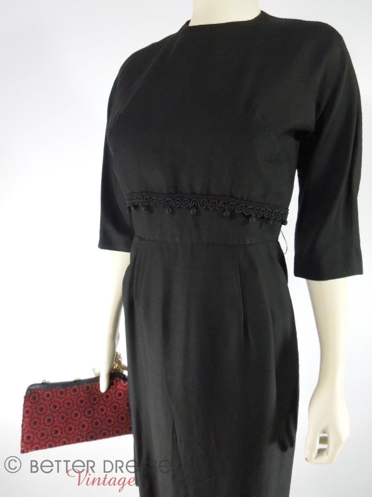 50s Black Cocktail Dress - sm