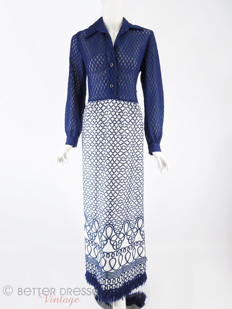 60s/70s Blue + White Embroidered Maxi - full front view