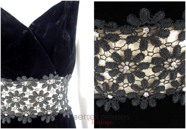 1960s Black Velvet Gown With Lace Waist Inset - details