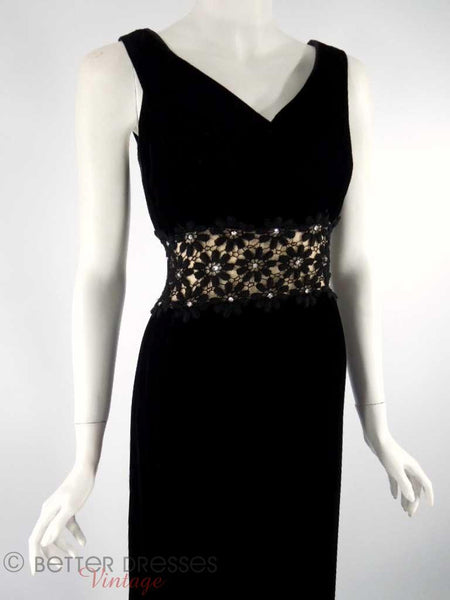 1960s Black Velvet Gown With Lace Waist Inset