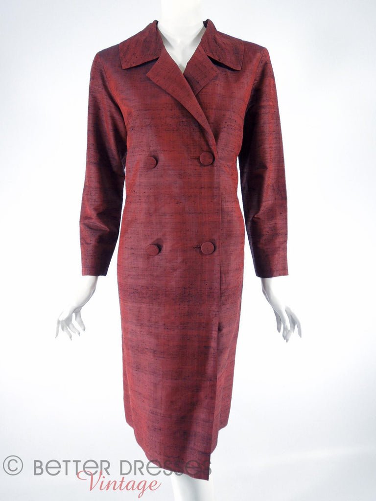 Vintage Rust Red Raw Silk Coat Dress - front