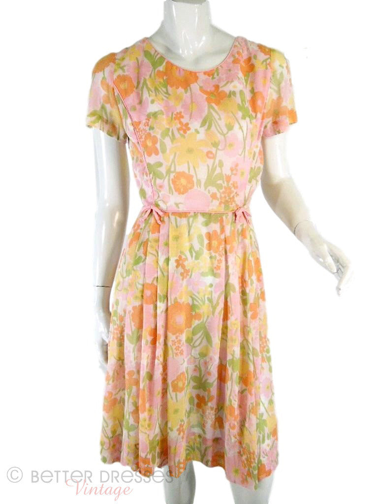 60s Pastel Floral Cotton Dress - full view