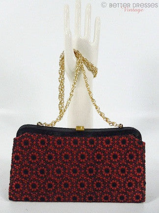 50s Black and Red Lace Purse