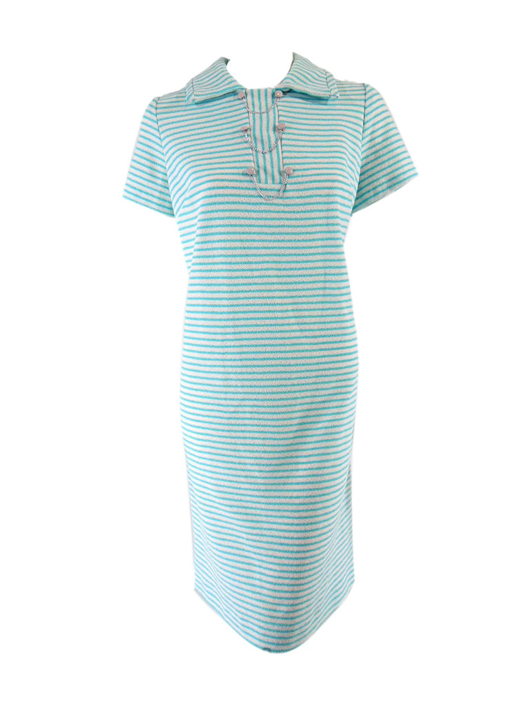 60s Aqua Stripe Shift Dress - front