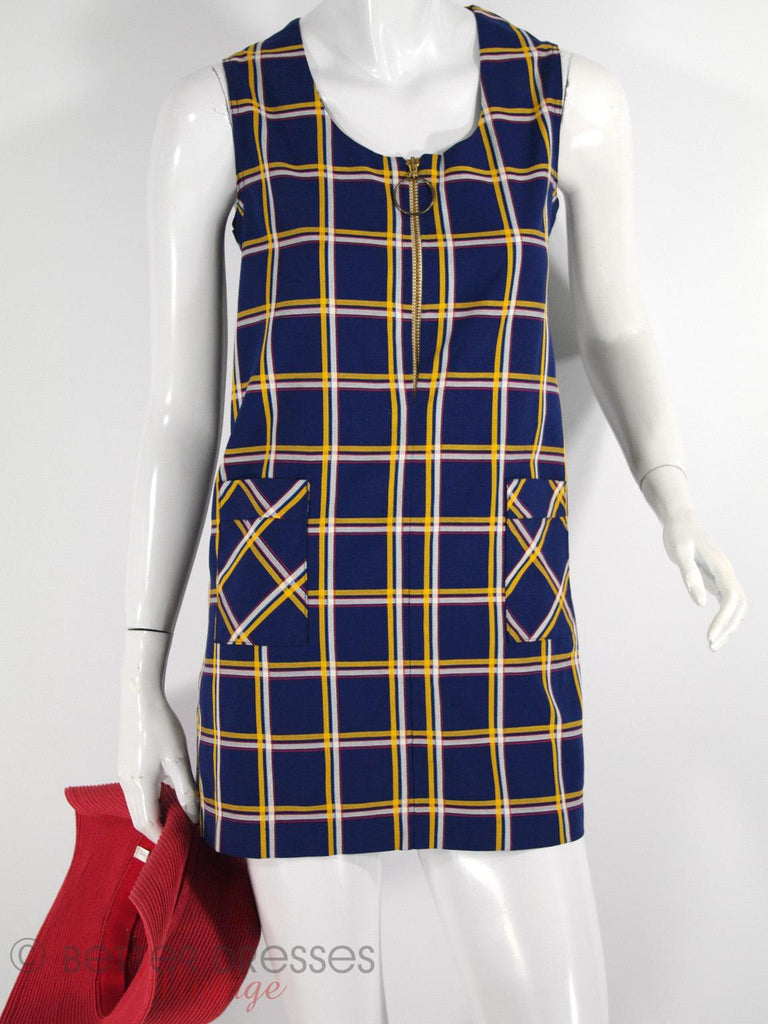 60s/70s Mod Mini Shift Dress in Navy Plaid at Better Dresses Vintage