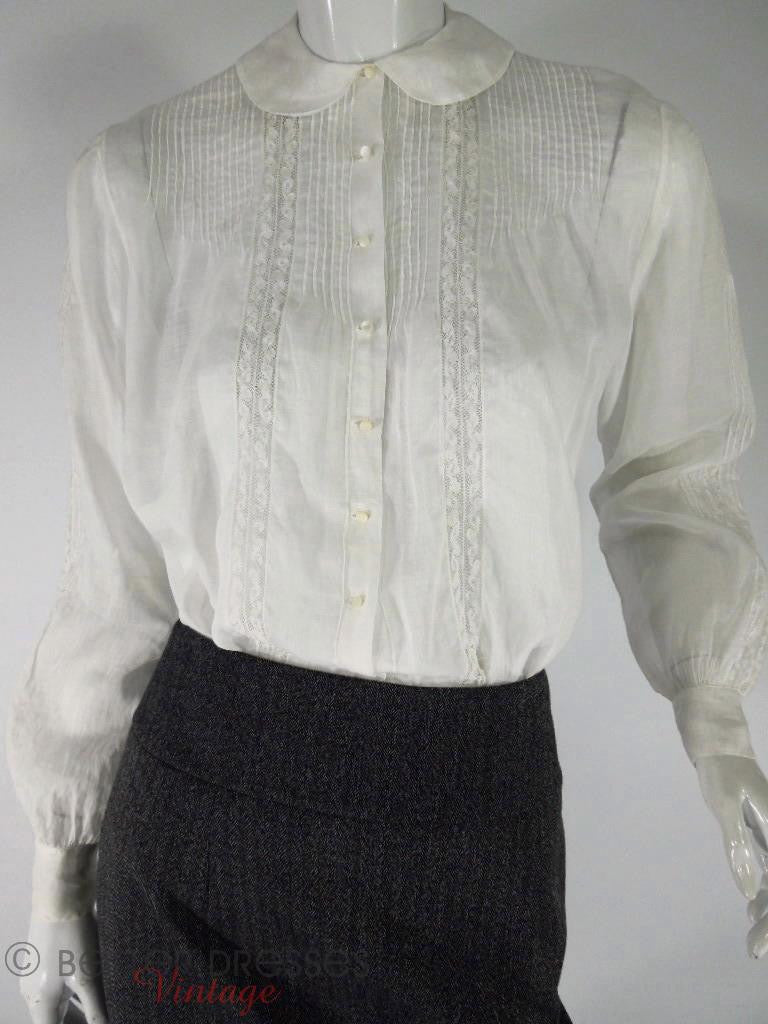 40s long-sleeve pintucked blouse at Better Dresses Vintage. tucked into pencil skirt, closer.