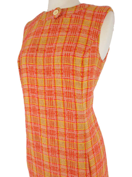 Vintage 60s Jumper Dress Sleeveless Shift In Bright Wool