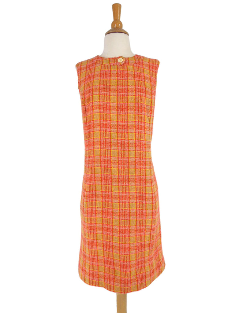 60s Plaid Wool Jumper Dress - front