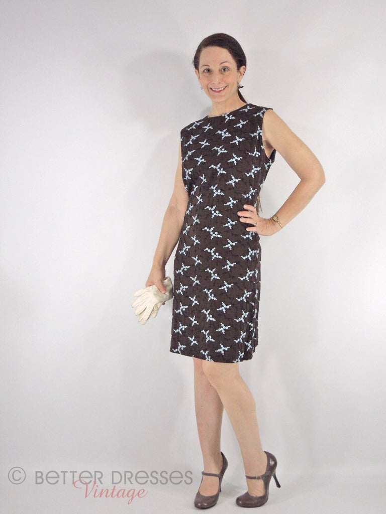 60s Embroidered Shift Dress - front angle view