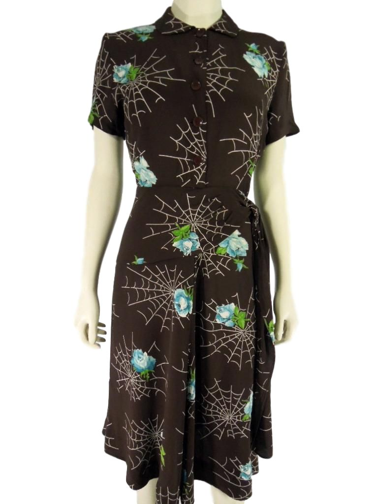 40s Rayon Spider Web Dress - front