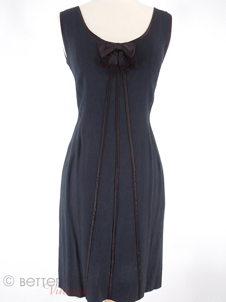 60s Satin Trimmed Shift Dress - sm