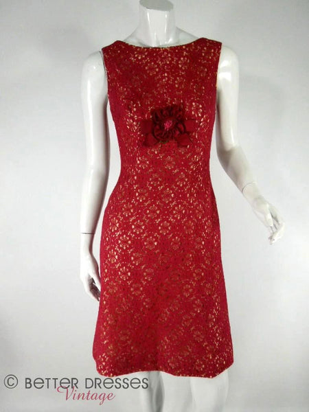 Vintage 50s 60s Cocktail Dress Cranberry Red Raspberry
