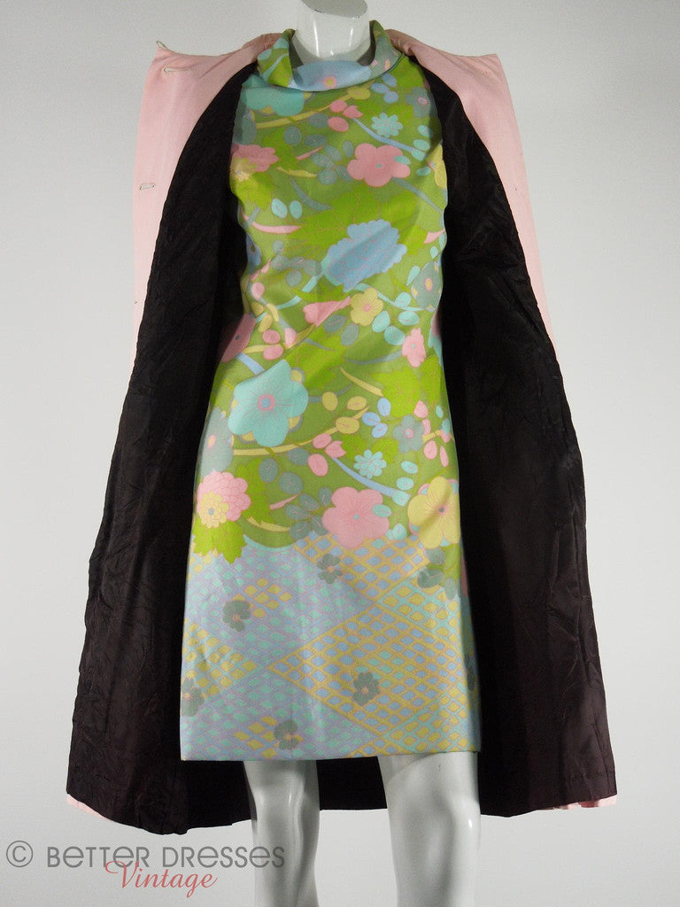 60s Bright Green Floral Hi-Neck Shift by Peck & Peck at Better Dresses Vintage. Shown under 1960s Lanson all-Weather Coat.