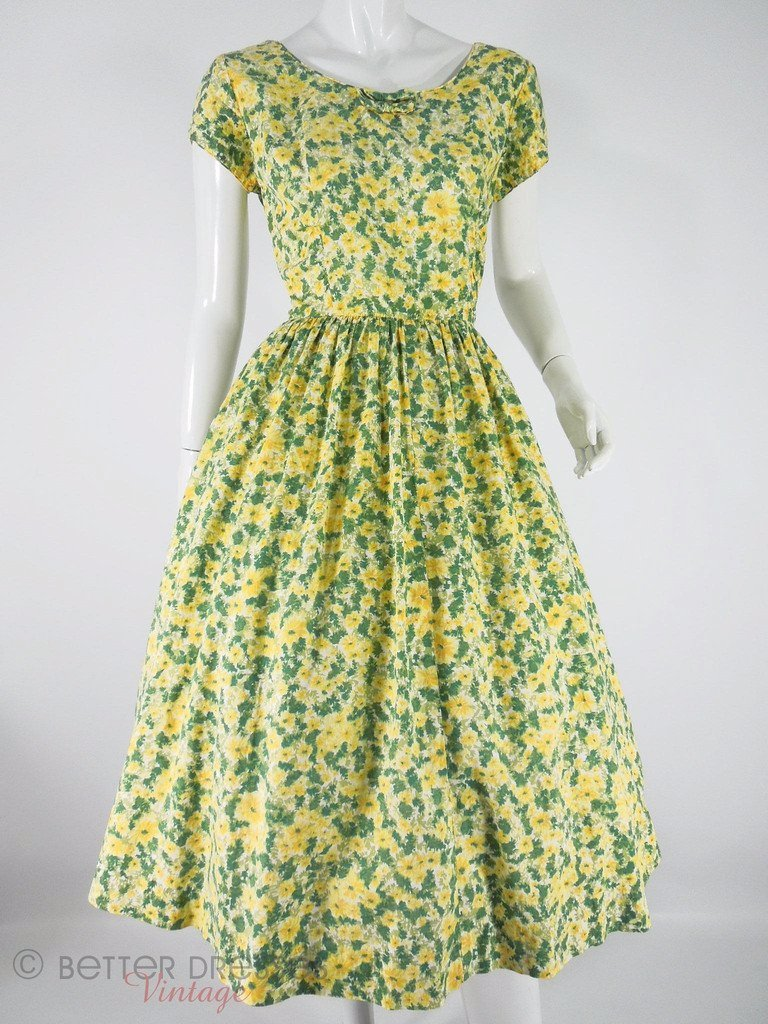 50s Yellow & Green Cotton Dress at Better Dresses Vintage