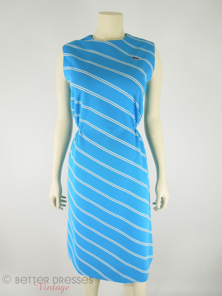 60s Preppy Blue Dress by David Crystal - med, lg
