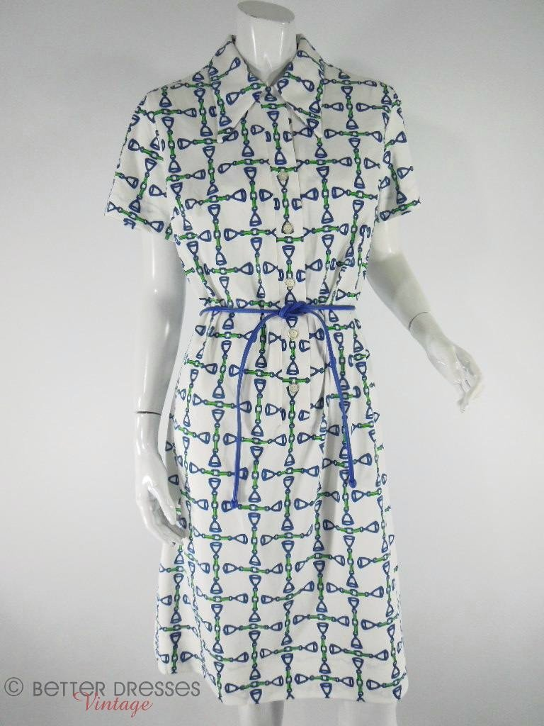 Lisa Cobb Saks Fifth Avenue 1970s Nautical Shirtwaist at Better Dresses VIntage
