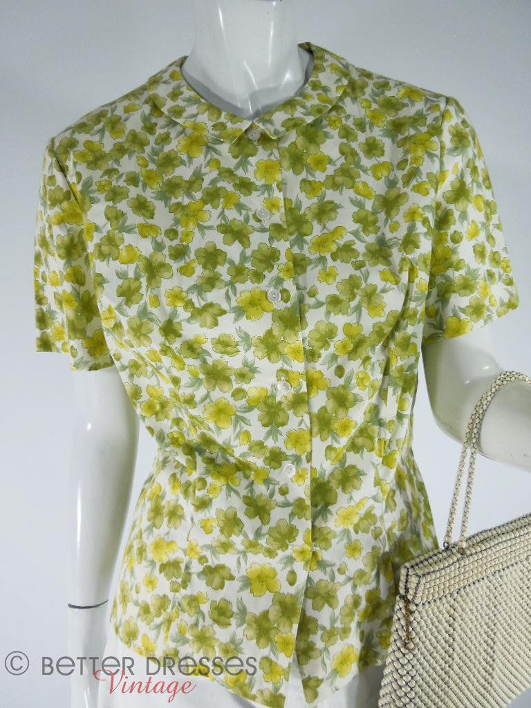 60s NOS Short Sleeve Cotton Blouse - lg, xl