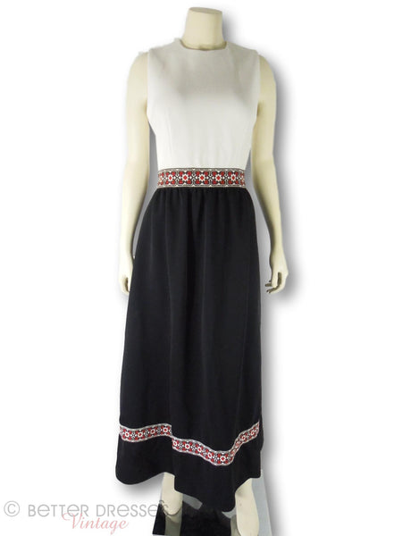 60s Black and White Ribbon Trim Maxi