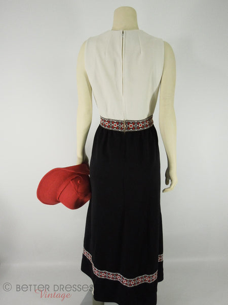 60s Maxi Hostess Dress in Black, White and Ethnic Ribbon by Ayres Unlimited at Better Dresses Vintage. Back.