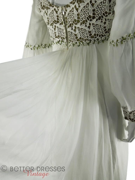 70s Long Sleeve Wedding Gown - back detail