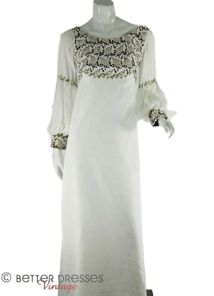 70s Long Sleeve Wedding Gown