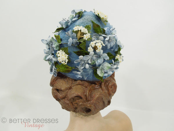 Vintage 50s or 60s whimsical blue floral hat at Better Dresses Vintage. Back view.