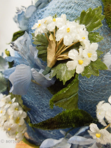 Vintage 50s or 60s whimsical blue floral hat at Better Dresses Vintage. Detail.