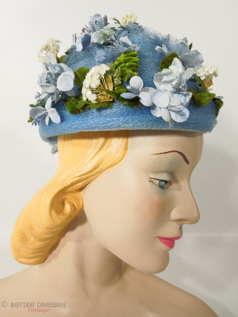 Vintage 50s or 60s whimsical blue floral hat at Better Dresses Vintage.