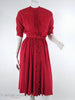 40s red rayon ruffle front dress at Better Dresses Vintage - no crinoline front view