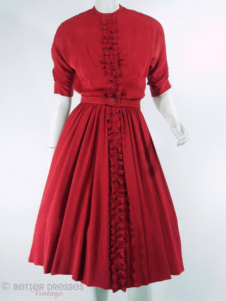 40s Ruffle Front Red Rayon Dress - sm