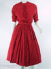 40s Ruffle Front Red Rayon Dress
