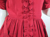 40s red rayon ruffle front dress at Better Dresses Vintage - waist close up
