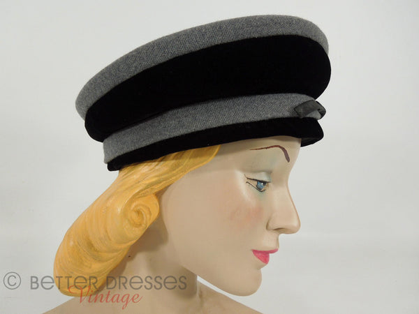 1950s Black & gray nautical beret hat by Cecille Lorraine at Better Dresses Vintage. Side view.