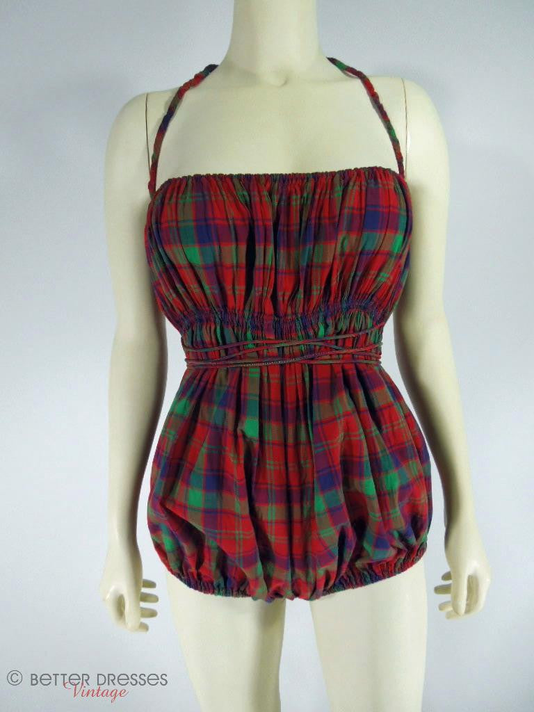40s Claire McCardell playsuit in red plaid at Better Dresses Vintage.