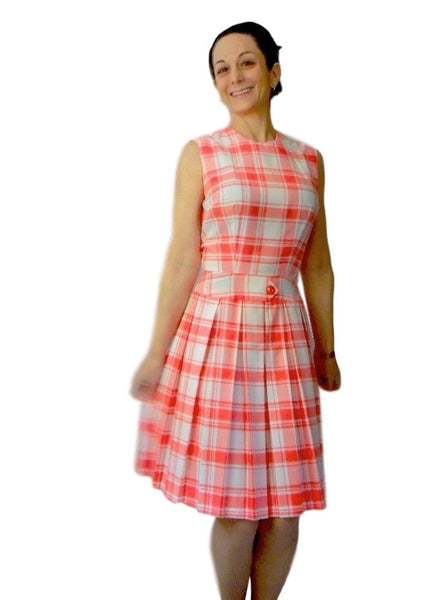 60s Orange Plaid Scooter Dress - On a Person