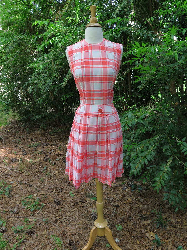 60s Orange Plaid Scooter Dress - sm