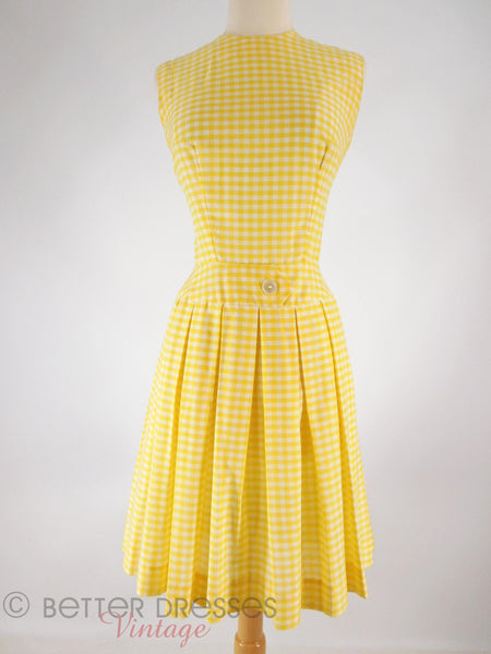 60s Yellow Gingham Scooter Dress - front