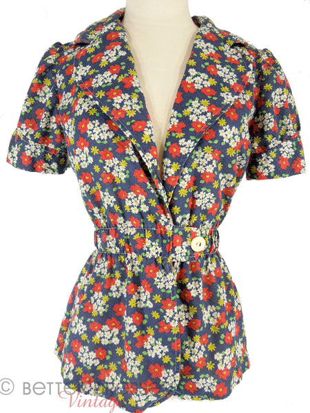 70s Navy Floral Cotton Peplum Jacket - near view