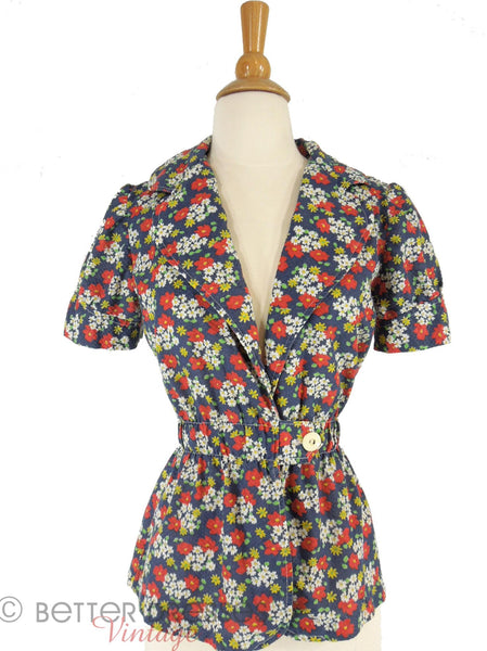 70s Navy Floral Cotton Peplum Jacket - far view