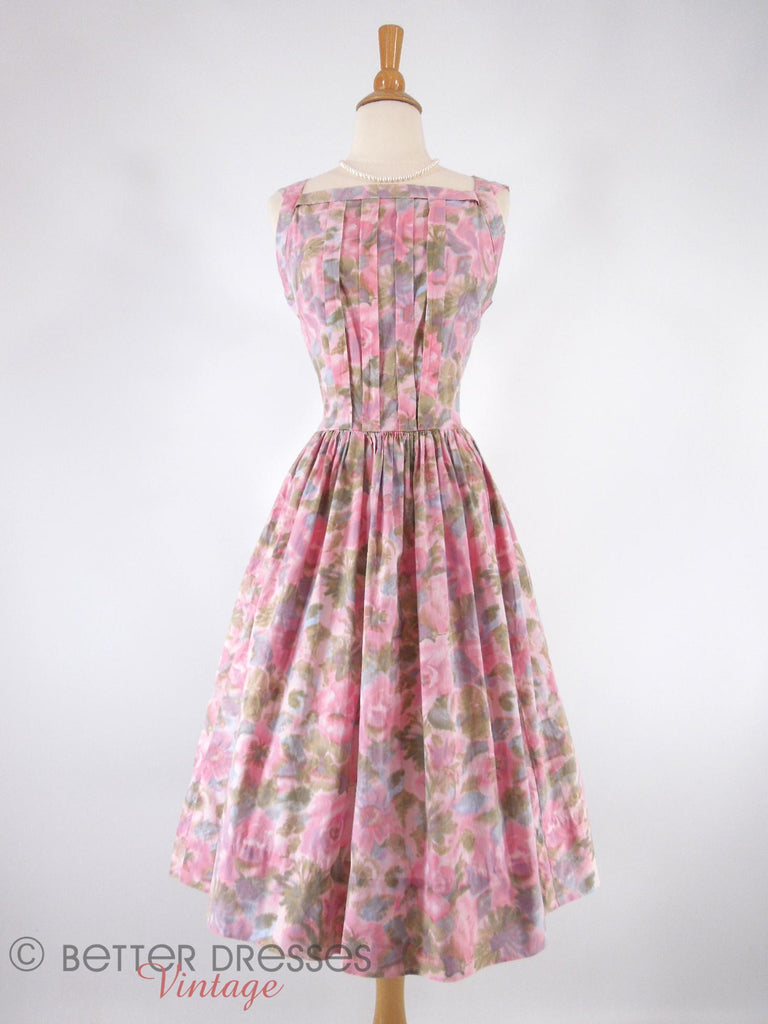 50s/60s Full-Skirted Floral Dress - front