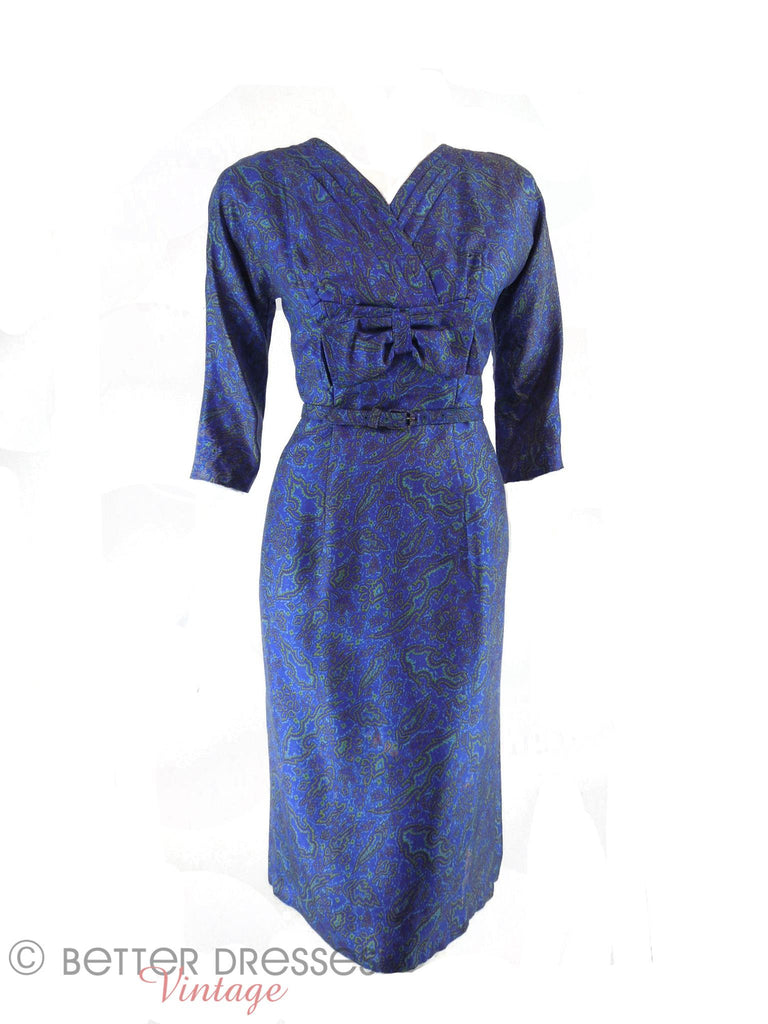 50s/60s Blue Silk Dress - front