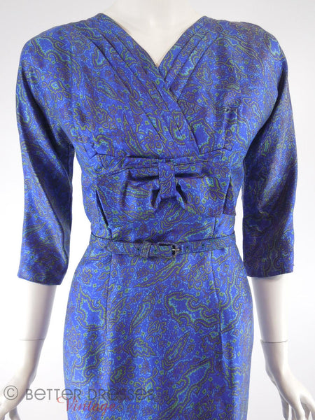 50s/60s Blue Silk Dress - close