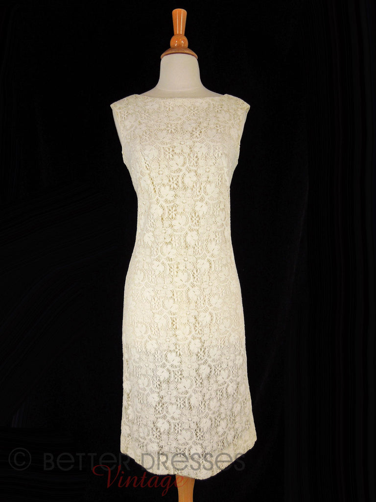 60s Cream Lace Sheath - front view