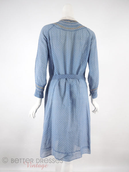 20s Long Sleeve Day Dress - back on white ground