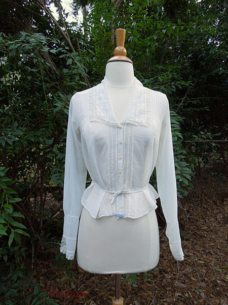 10s White Cotton Blouse - front view